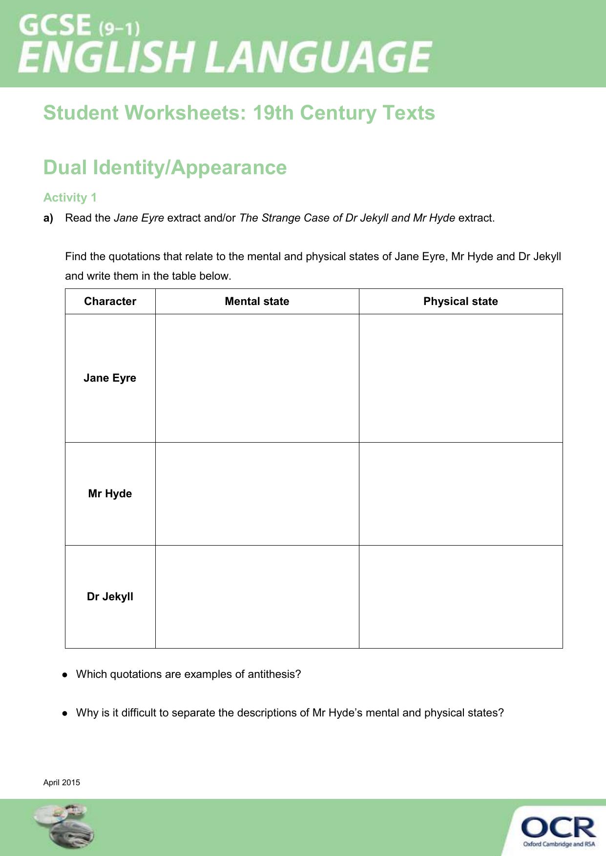 19th Century Texts Dual Identity Activity Lesson Element
