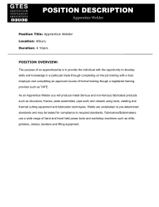 POSITION DESCRIPTION Apprentice Welder Position Title