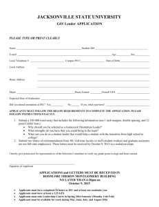 JACKSONVILLE STATE UNIVERSITY GO! Leader APPLICATION