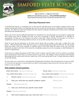 2015 Class Placement Form - Samford State School
