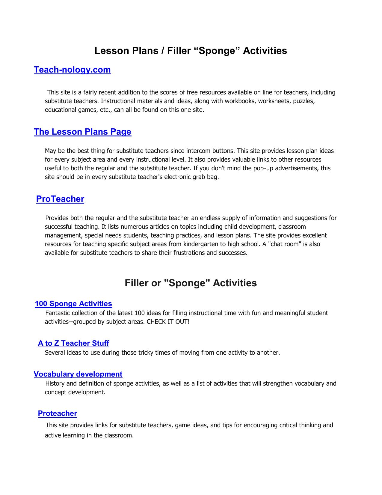 Workbooks teach-nology.com worksheets : Lesson Plan Fillers / Sponge Activities