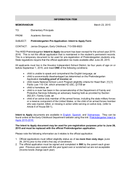 Mar. 2015 Prekindergarten Intent to Apply - HISD Pre