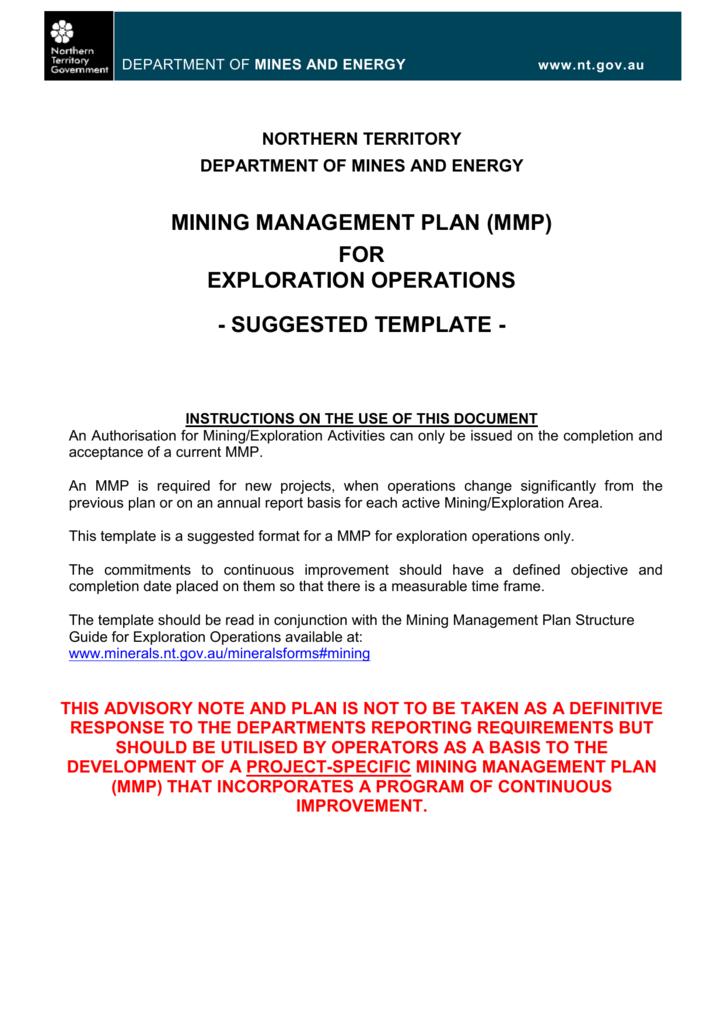 Exploration Operations Mining Management Plan Mmp Template