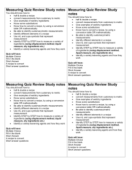 Measuring Quiz Review Study notes