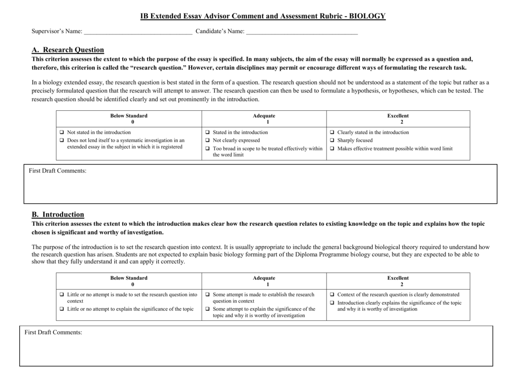 bio ee rubric ib extended essay advisor comment and assessment rubric   biology  supervisors name