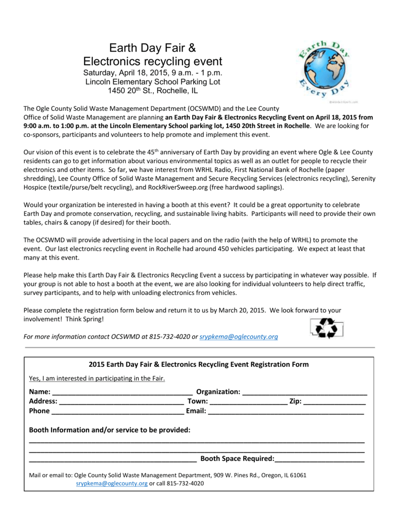 Earth Day Fair & Electronics recycling event Saturday, April