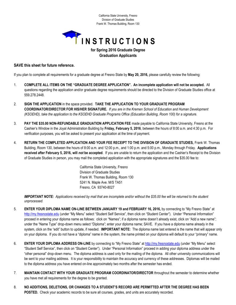 Instructions California State University Fresno