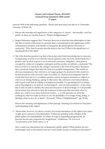Literary and Cultural Theory, 2012-2013 Assessed Essay Questions