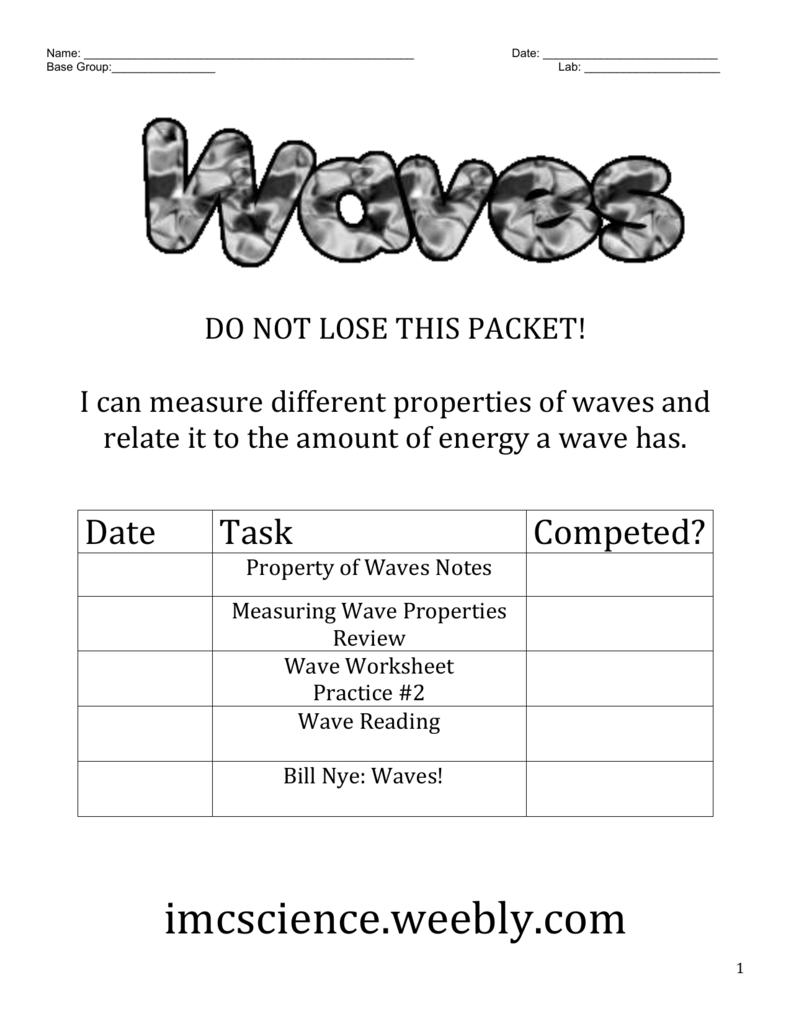 Worksheets Bill Nye Waves Worksheet waves packet
