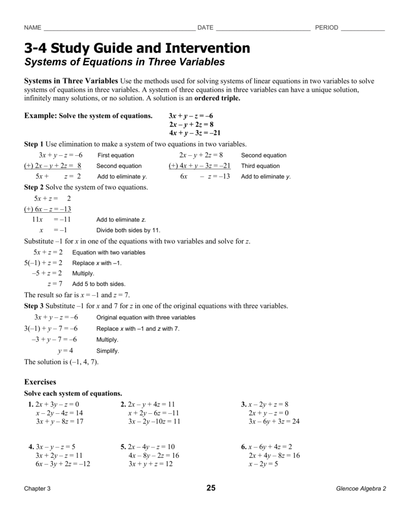 Systems of Equations in Three Variables