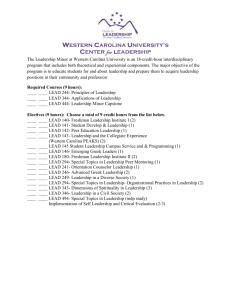 Western Carolina University`s Center for leadership