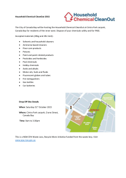 Household Chemical CleanOut 2015 The City of Canada Bay will be