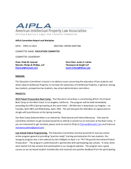 AIPLA Committee Report and Workplan