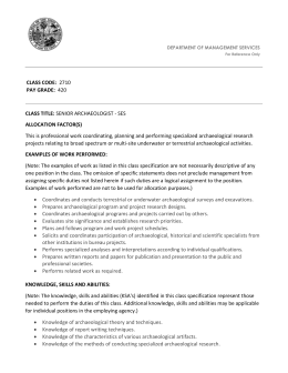 senior archaeologist - ses - Department of Management Services