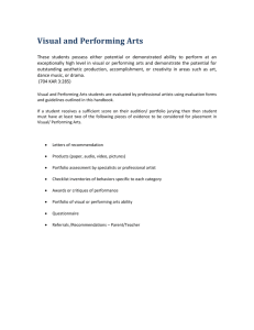 Placement in Visual & Performing Arts