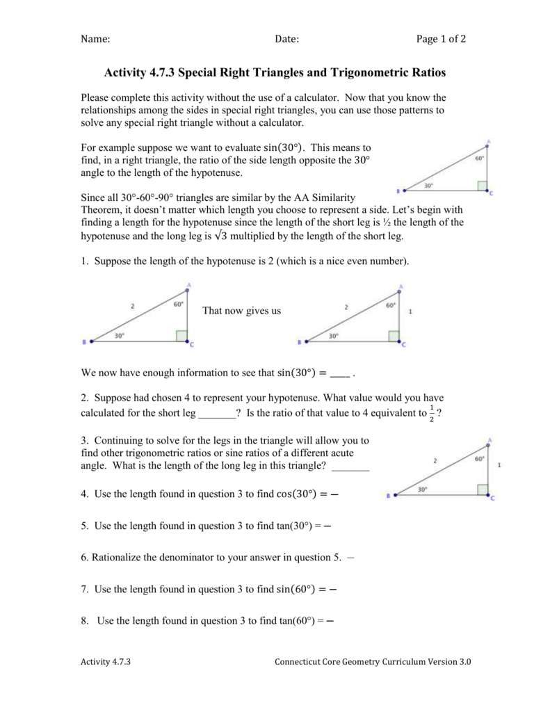 Activity 473 Special Right Triangles And Trigonometric Ratios
