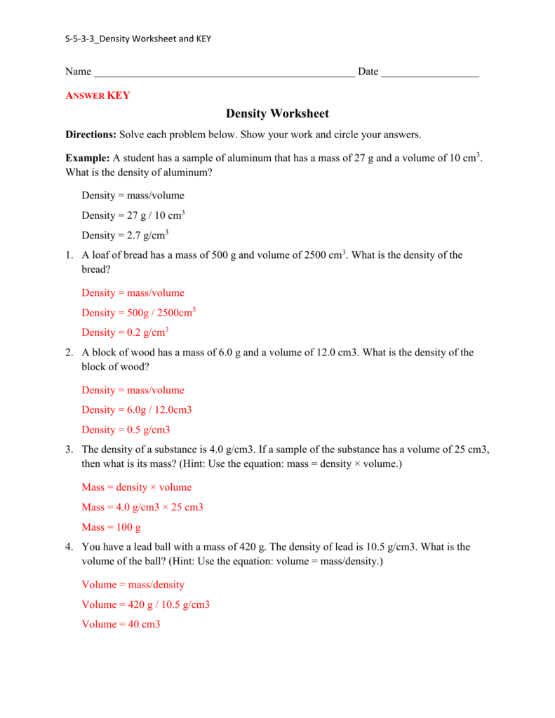 Density Practice Worksheet Answers – Density Worksheet