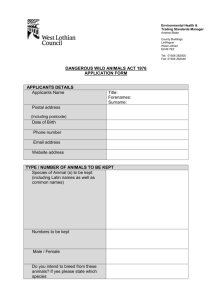 Dangerous Wild Animals Application Form