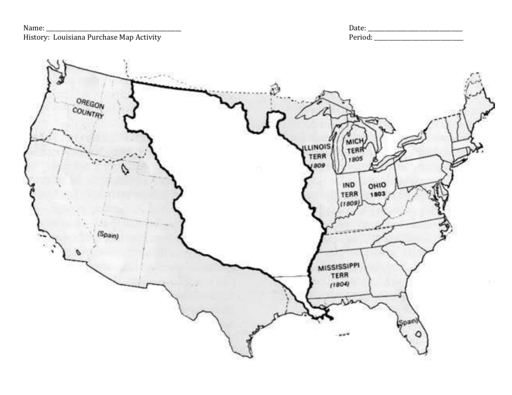 Map Of Spain To Label.Name Date History Louisiana Purchase Map Activity Period Lewis