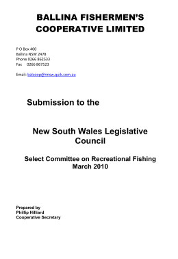 Submission to the New South Wales Legislative Council Select