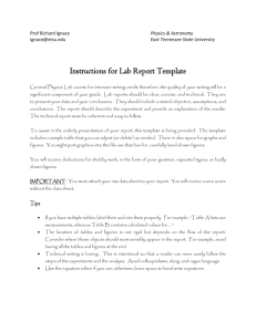 Sample Lab Report - Faculty - East Tennessee State University