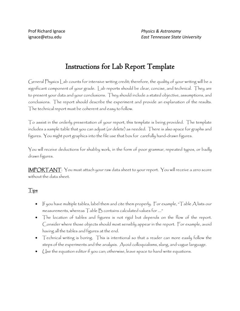 Report writing uni standards
