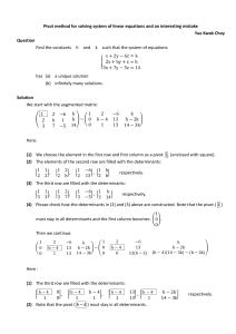 Pivot method for solving system of linear equations and an