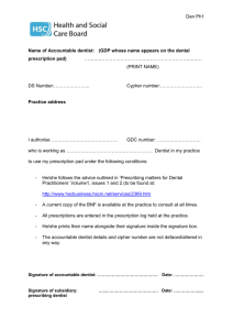 Form authorising use of Dental Prescription Pad by a second party