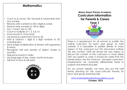 year 1 – curriculum information for parents