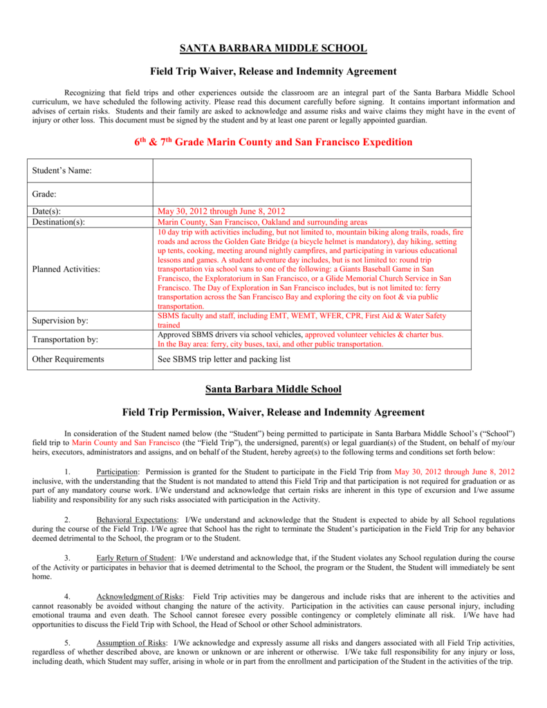 Domestic Field Triptransportation Permission And Waiver Form