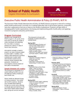 MPH E-PHAP Curriculum Sheet