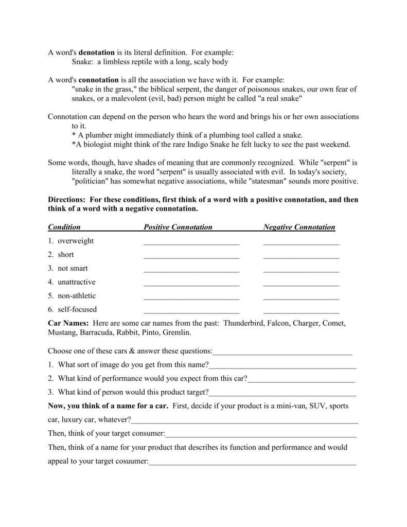 Worksheets Denotation And Connotation Worksheets connotationdenotation worksheet 3