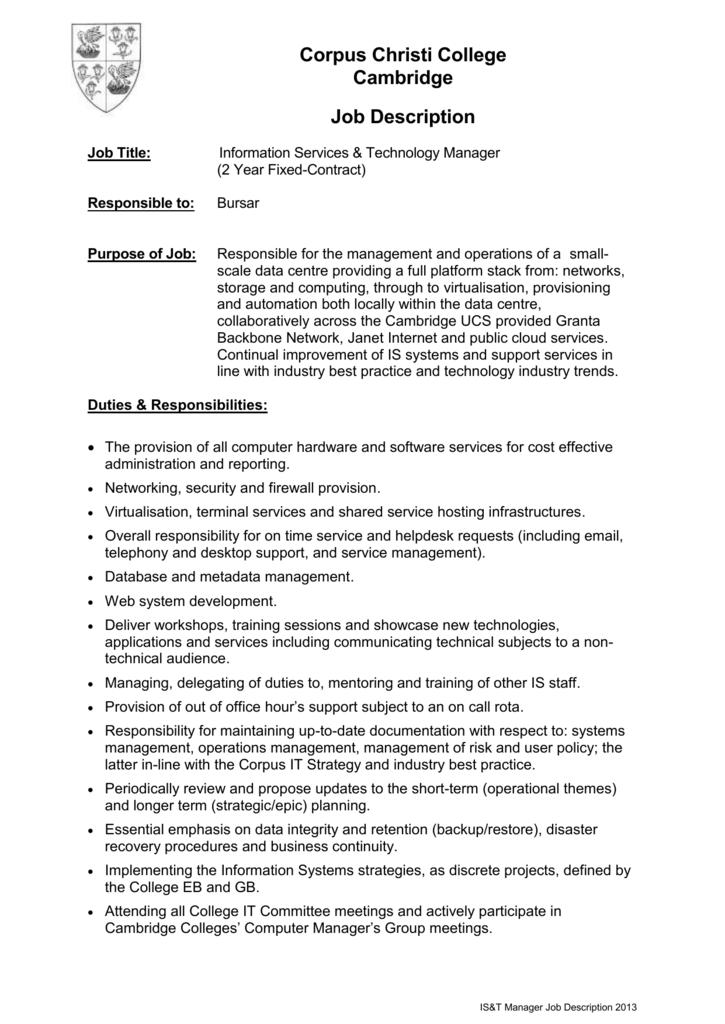 Person Specification - Corpus Christi College