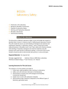 BIO226: Laboratory Safety BIO226: Laboratory Safety Chemicals in