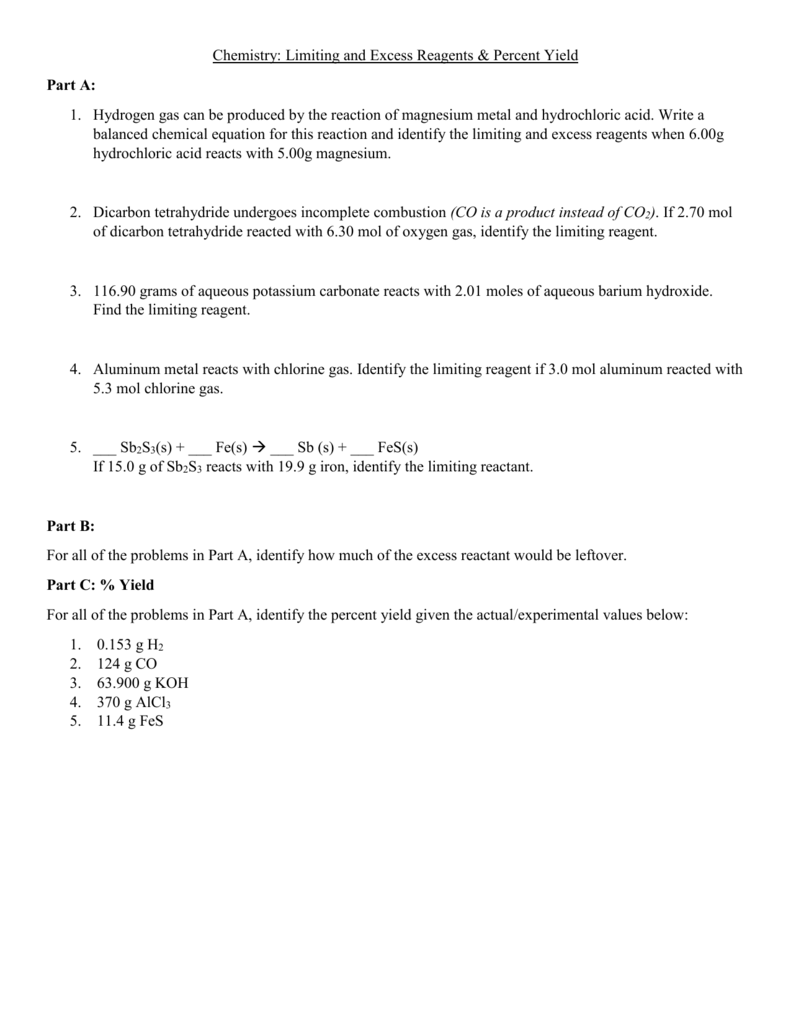 Chemistry Limiting and Excess Reagents Percent Yield Part A – Percent Yield Worksheet