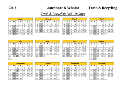 2015 Lanesboro & WhalanTrash & Recycling Trash & Recycling