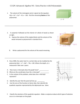 CCGPS Advanced Algebra WS: Extra Practice with Polynomials The