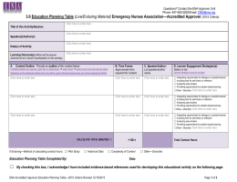 3.0 Education Planning Table - Emergency Nurses Association
