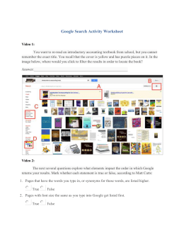 Google Search Activity Worksheet
