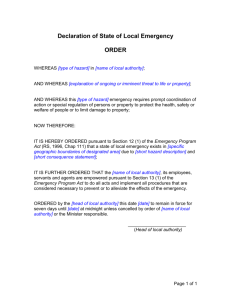 Declaration of State of Local Emergency ORDER