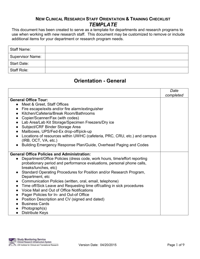 office orientation checklist