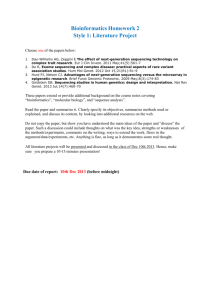 Biological sequences - literature review assignment