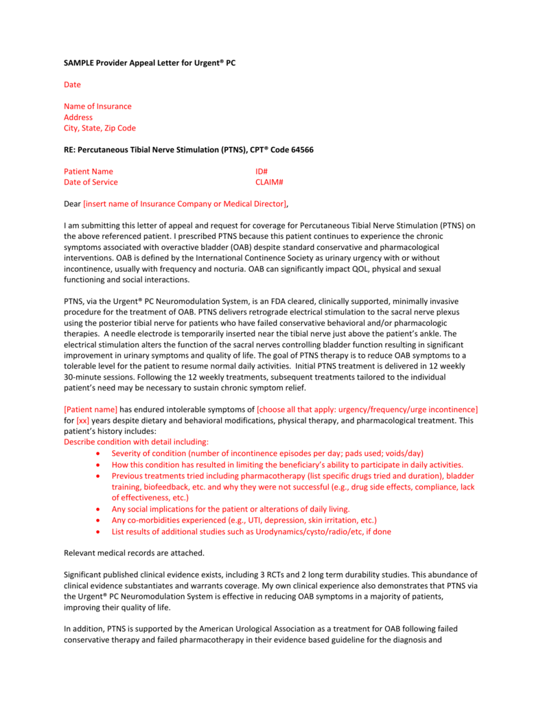 SAMPLE Provider Appeal Letter for Urgent® PC Date Name of