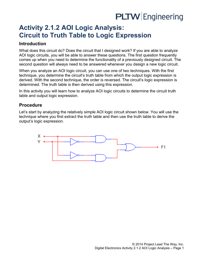 Activity 212 AOI Logic Analysis Circuit to Truth Table to Logic – Truth Tables Worksheet