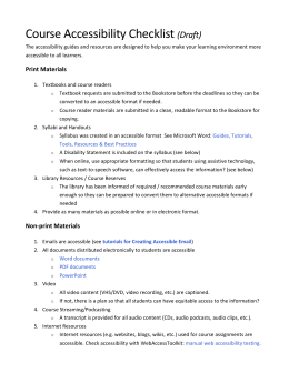 Course Accessibility Checklist (Draft) - Answers