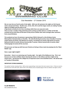 Newsletter 27October 2015 - CYMS St Edmund`s Swimming Club