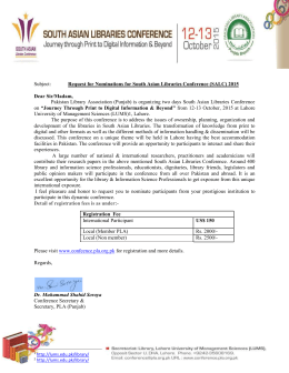Letter for Nomination Request - Pakistan Library Association