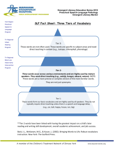 Three Tiers of Vocabulary
