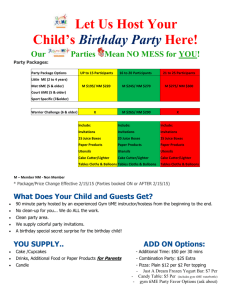 Birthday Party - Package Details
