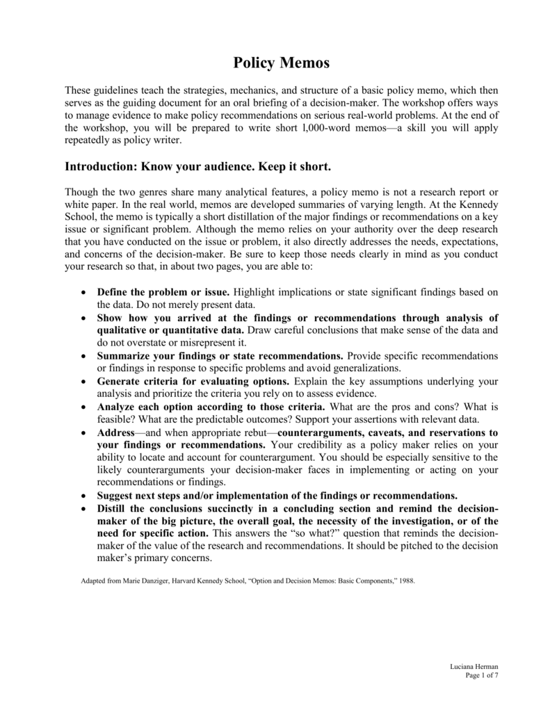 policy memo example